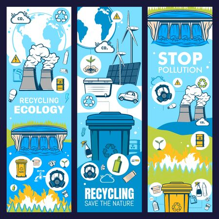 Environment and waste recycling, green ecology and earth eco energy, vector save ecology banners. Stop pollution, environment conservation and alternative energy, recycling and CO2 emission reduction