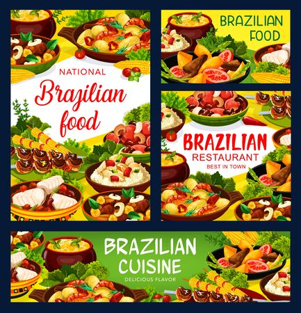 Brazilian cuisine food menu, Brazil restaurant vector meat, fish meal dishes. Brazilian traditional churrasco meat, bacalhau fish, feijoada bean stew, shrimp moqueca and corn soup