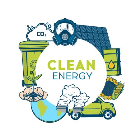 Waste recycling and clean energy, green eco environment, save ecology vector poster. Garbage recycling, nature conservation, bio fuel CO2 emission and pollution reduction, earth environment protection