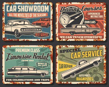 Car service rusty metal plates, garage automotive repair and auto diagnostics, vector signs. Limousine rental, cars showroom salon, driving courses school, motor repair and auto parts center