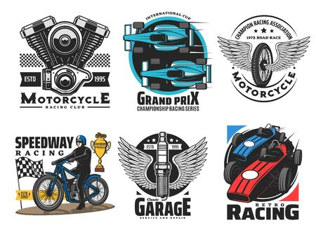 Speedway and motor racing sport club vector icons. Speedway and motor races championship, wheel and wings emblem. Drag race tournament, engine and spark plug, service and repair icons 일러스트