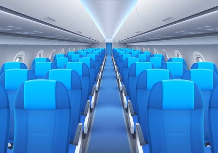 Plane or airplane cabin interior with seats and windows vector design of passenger aircraft, airline flight and air travel. Aisle of economy class with rows of empty chairs, portholes, luggage shelves