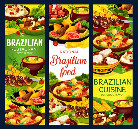 Brazilian cuisine churrasco meat skewers and mango fried beef salad, feijoada beans and bacalhau fish, corn soup and moqueca with shrimp seafood. Brazilian traditional menu meals vector banners