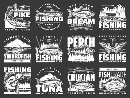 Fishing sport leisure, fish hooks and lure rods vector icons. Fishing club big fish catch tournament for tuna and crucian, pike and flounder, perch, sea mackerel and swordfish, baits and tackles store Çizim