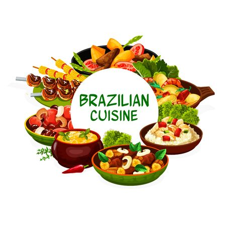 Brazilian cuisine food menu dishes, vector traditional meals. Brazilian cuisine restaurant menu feijoada beans, churrasco meat and fish bacalhau, moqueca with shrimp seafood and corn soup, vegetables
