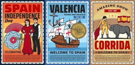 Spanish culture flamenco dance and corrida bulls show, ceramics and marine museum, national costumes. Barcelona and Madrid, Valencia tours vector posters. Spain history, travel landmarks, folk culture