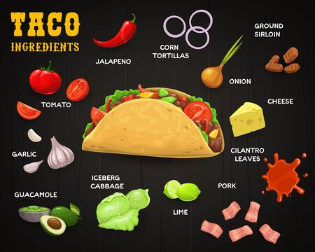 Taco, vector Mexican fast food with ingredients. Corn tortilla with meat and vegetables, chilli or jalapeno pepper, lettuce salad, beef, tomato and cheese, avocado guacamole, garlic on wood background Ilustración de vector