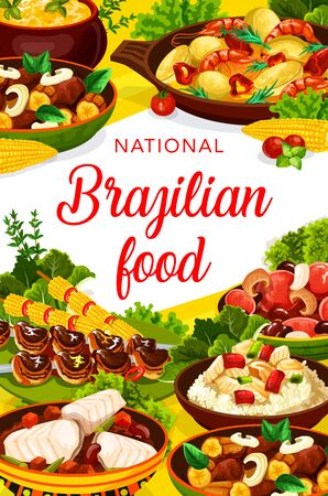 Brazilian cuisine menu traditional dishes, vector meals. Brazilian feijoada beans stew, churrasco meat skewers and fish bacalhau, mango beef salad and moqueca with shrimps, corn soup