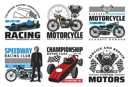 Speedway motorcycle bike races and car racing retro vector icons. Speedway racing club and retro sport cars championship cup, tournament racetrack, motorcycle garage repair and repair service signs