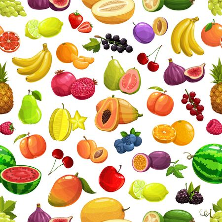Vector pineapple and peach, banana and watermelon tropical fruit and berries seamless pattern background. Orange and pomegranate, cherry and tropic fig, starfruit carambola and papaya, mango and apple