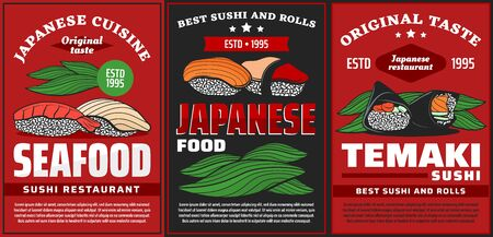 Seafood sushi and temaki, Japanese restaurant food menu, vector posters. Japanese cuisine sushi bar rolls with salmon and tuna fish, temaki with nori seaweed and rice Illustration