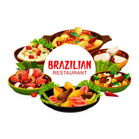 Brazilian cuisine feijoada beans and fish stew bacalhau, moqueca seafood and liver with bananas, corn soup and churrasco meat skewers. Brazilian traditional breakfast, lunch and dinner meals, vector