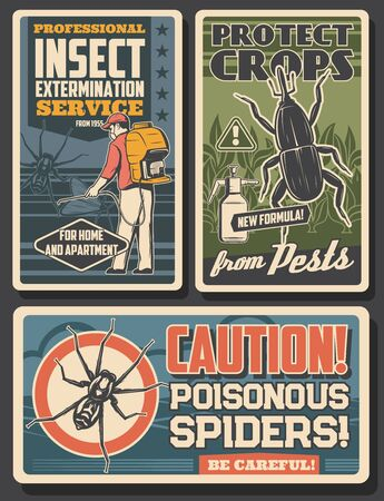 Pest control, disinfestation and insects fumigation, sanitary service vector vintage posters. Poisonous spiders caution warning sign, agriculture and domestic disinsection from bugs, weevil and moth