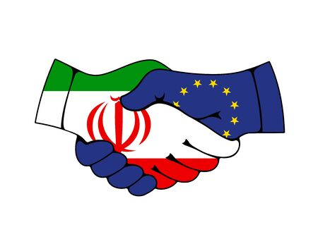 European Union and Iran partnership, vector handshake with flags. Iranian and European Union countries agreements, trade, economics cooperation, diplomacy and politics relationship