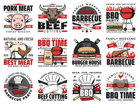 Barbecue grill party and butchery meat vector icons. Burger house, charcoal BBQ grill time and picnic party, pork and beef steaks on fire flames, butcher cutlery knife and fork