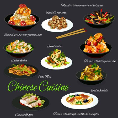 Chinese cuisine traditional dishes, restaurant vector menu. National cuisine mussels, stewed squids, cashew chicken, cod with ginger, rice balls with pork, shrimps with jasmine sauce, beef and noodles