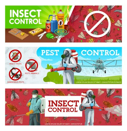 Pest control, disinfestation and deratization sanitary service vector banners. Aerial pest control, agriculture insecticide, domestic disinfection and fumigation of bugs, rodents and insects Ilustración de vector