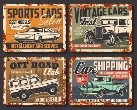 Vintage and sport cars vector rusty metal plates. Car service center, rarity vehicles show fest exhibition and sport motors salon, off-road extreme club and transport shipping