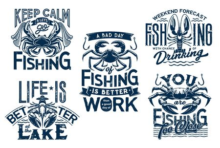 Sea crab, crayfish on water waves and lobster with fishnet. Keep calm and life on lake quotes for t-shirt print. Marine fishing vector grunge blue icons with nautical symbols and crab animals
