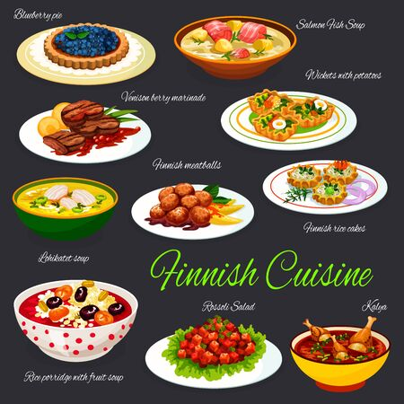 Finnish cuisine meals, vector restaurant menu with Finland traditional dishes. Finnish salmon fish and lohikatet soup, blueberry pie and meatballs, venison berry marinade and rice porridge with fruits