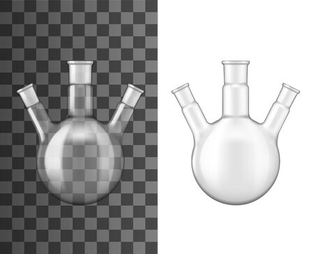 Glass flask, chemical laboratory glassware beaker, vector 3D realistic mockup. Three necks glass vial or round vial test, chemistry research jar, empty isolated on transparent background