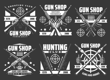 Gun shop and military ammunition weapon store vector icons. Hunting ammo rifles and defense weaponry, shooting club signs with guns, bullets and bomb launchers, grenades, bazookas and aim targets