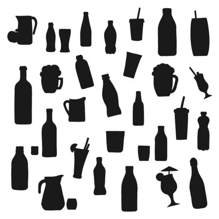 Alcohol and soft drink bottle vector silhouette icons. Bottles and cocktail glasses, fruit juice pitcher, soda cup with drinking straw, smoothie and milkshake, champagne and wine bottle silhouettes