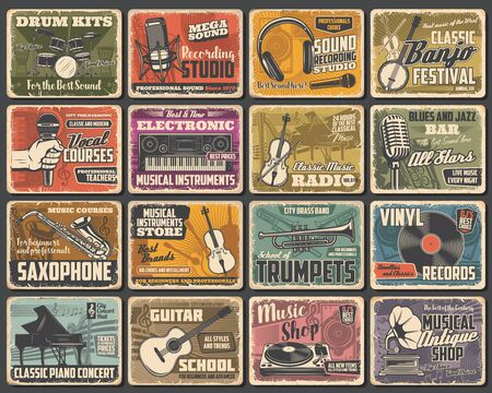 Music instruments shop, live concert and recording studio, vector retro posters. Classic music radio, guitar store, jazz fest saxophone and piano school, singer vocals courses and blues bar Vecteurs
