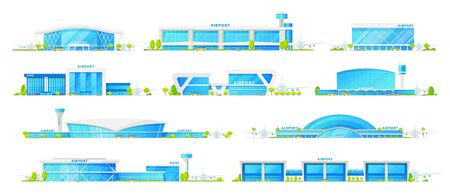 Airport terminal buildings, vector icons. International airport and hotel, terminals with air traffic control tower, airplane and passenger gates, modern architecture with glass facades