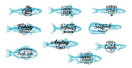 Fishing club, fish market and seafood vector symbols with lettering. Angling, fishing tournament and fisher lure tackles equipment shop. Tuna and eel, sardine, salmon and tuna fishes