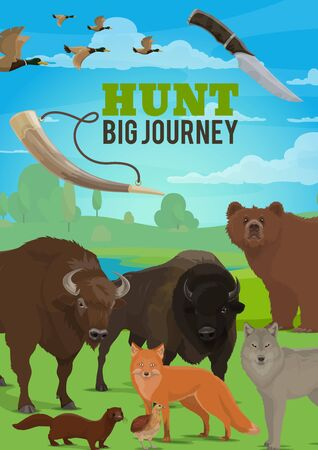 Hunting season wild animals. Hunting ammo, wild animals and birds. Ammunition and equipment, horn and knife, bear and wolf, buffalo ox and fox, partridge and duck, ermine or mink trophy animals