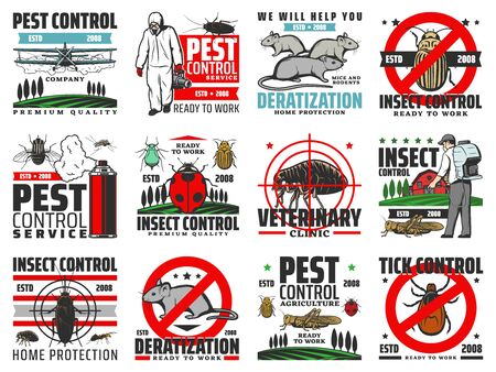 Pest control, insects extermination and rodents deratization service vector icons. Domestic and agriculture pest control, disinfection and fumigation of bugs and ticks, flea, locust and cockroach