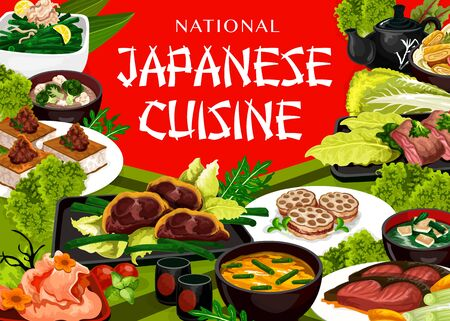 Japanese cuisine food, vector restaurant menu with traditional dishes of Japan. Japanese national meals, dinner and lunch, sushi and seafood, fish and meat, soups, salads and drinks