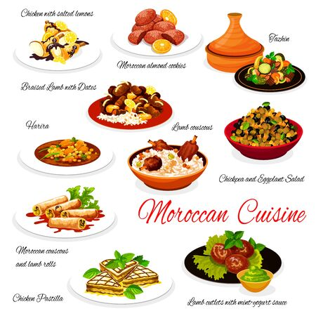 Moroccan cuisine dishes, Morocco authentic restaurant menu, vector food. Moroccan almond cookies, tazhin and harira soup, chickpea with eggplant salad, lamb couscous and chicken pastilla
