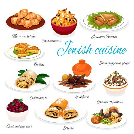 Jewish cuisine dishes vector menu. Israeli food, Middle East Jewish kosher food Jerusalem burekas, strudel and cholent with potatoes or carrot tsimes, macaroon ratafia and busbus, sweet and sour beet Illustration