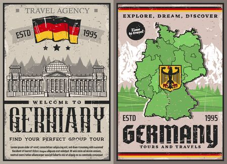 Germany travel retro posters. Berlin city tours and landmark sightseeing, vector vintage card Dutch travel agency, historic culture or traditions. Bundestag architecture, Germany map with coat of arms Çizim