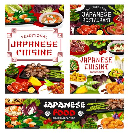 Japanese cuisine restaurant menu meals cover, vector. Restaurant cuisine shrimp salad, chicken meat and baked fish on skewers. Braised cabbage with fried tofu and daikon stew with pork loin