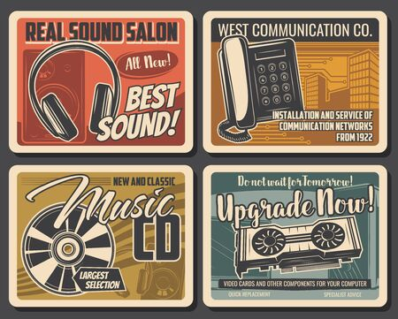 Modern devices and technology services vector retro posters. Dj sound equipment and music CD records shop, phone and communication networks installation. Computer device, software upgrade