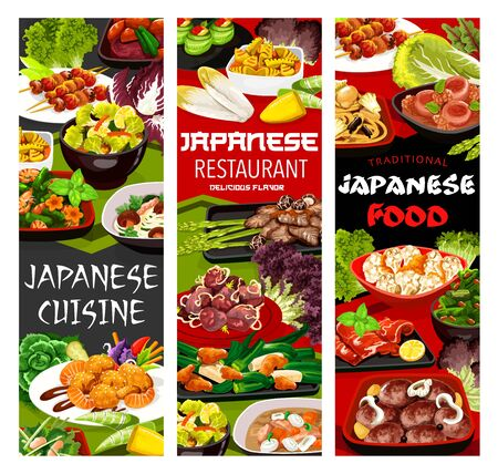 Japanese cuisine menu vector banners. Restaurant meals, seafood and meat dishes. Shiitake mushroom, cucumber rolls and turnip stew, ramen noodles, daikon stew with pork loin, filipino shelfish salad