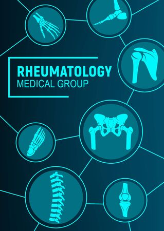 Rheumatology, joints and rheumatic disorder medical health care. Vector human skeleton parts hand, foot and pelvis, spine, knee and shoulder joints mri or computed tomography, medicine Ilustrace