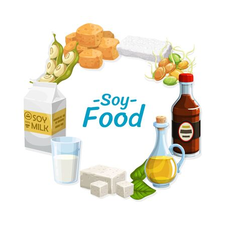 Soy products and soybean food. Vector vegetarian soy sauce, tofu cheese and tempeh, soybean milk and oil, green sprouts and beans. Natural protein food ingredients round frame Stock Illustratie