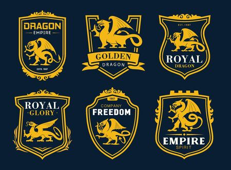 Griffin and dragon isolated heraldic vector icons. Yellow shields with armorial mythical animal silhouettes, ribbons and typography. Empire golden dragon and fantasy Griffon lion and eagle creature