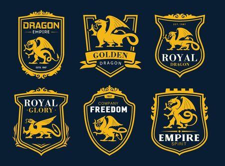 Griffon et dragon ont isolé des icônes vectorielles héraldiques. Boucliers jaunes avec silhouettes d'animaux mythiques armoriés, rubans et typographie. Dragon d'or d'empire et créature fantastique de lion et d'aigle de Griffon