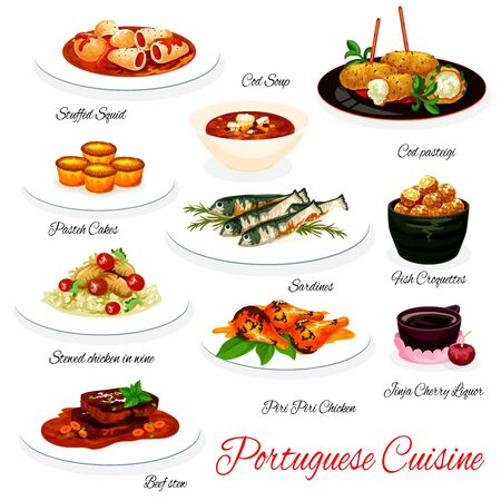 Portuguese cuisine vector menu. Portugal meals of stuffed squid, cod soup and pasteh dish, sardine fish and croquettes, pasteh cake and stewed chicken in wine. Beef, seafood and pastry food menu Vetores