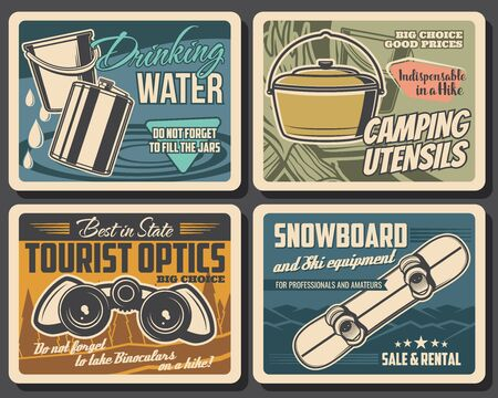 Travel camping and hiking equipment shop, vintage vector posters. Hiking, mountaineering outdoor camp travel utensil. Snowboard, binoculars, water jars and backpacking accessory