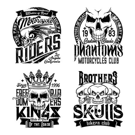 Skull t-shirt prints. Grunge vector monochrome mascots. Biker club symbol, motorcycle riders t-shirt prints. Phantom brothers biker badges, drive fast or die emblems with skull in crown