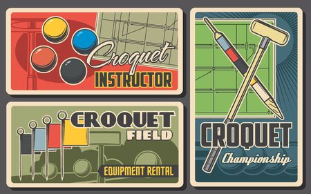 Croquet sport retro posters. Vector mallet, peg and balls items. Sports club tournament, Croquet game school and equipment shop, wooden stick bat and pegs, mallet hammers and pins vintage cards set Ilustracja
