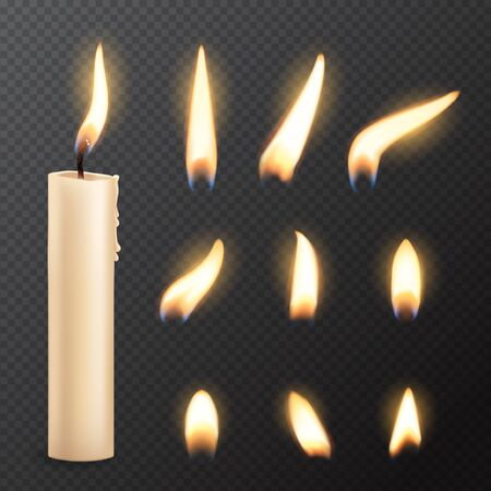 Candle with fire flame lights realistic vector mockup on transparent background. Burning church or party candle made of white wax and wick with glowing flares, Christmas, birthday or romantic holiday Illustration
