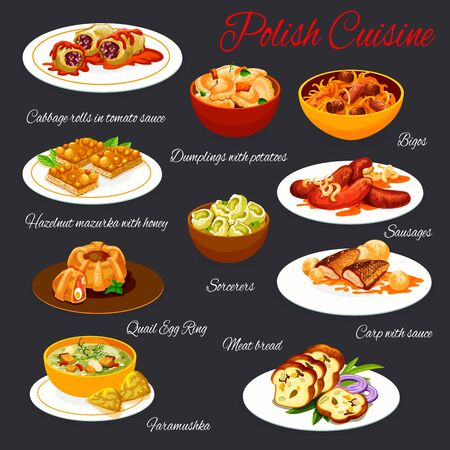 Polish cuisine, vector meals menu template. Poland meals cabbage rolls in tomato sauce, dumplings with potato, bigos dish and sausages. Meat bread, fish, faramushka and hazelnut mazurka with honey