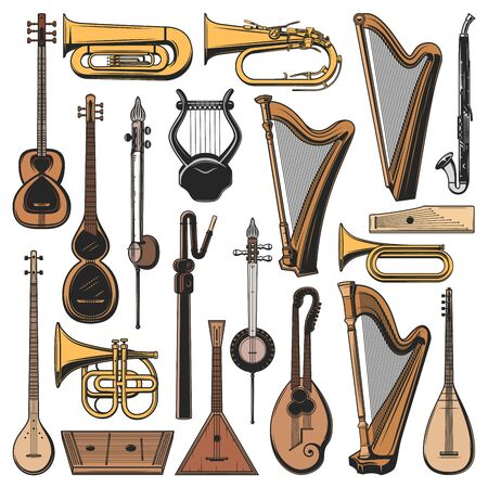 Musical instruments isolated vector tuba, harp and balalaika, klappenhorn, clarinet alto or tar. Kemanche, chattar and tanbur sharke, cornet and gusli, saz and trumpet musical instruments set Ilustrace